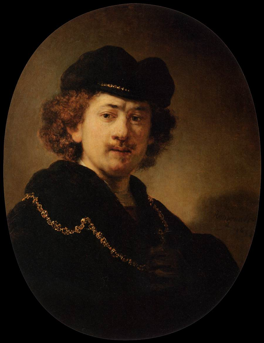 Rembrandt Self Portrait Wearing a Toque and a Gold Chain WGA19210