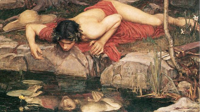 πίνακας με νάρκισσο άνδρα να κοιτάζει την αντανάκλασή του στο ποτάμι