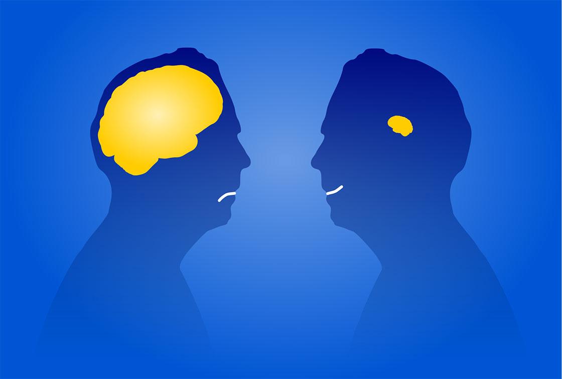 δύο φιγούρες ανθρώπινων κεφαλιών που στον έναν υπάρχει ένας μεγάλος κίτρινος εγκέφαλος και στον άλλον ένας μεγαλύτερος κίτρινος εγκέφαλος