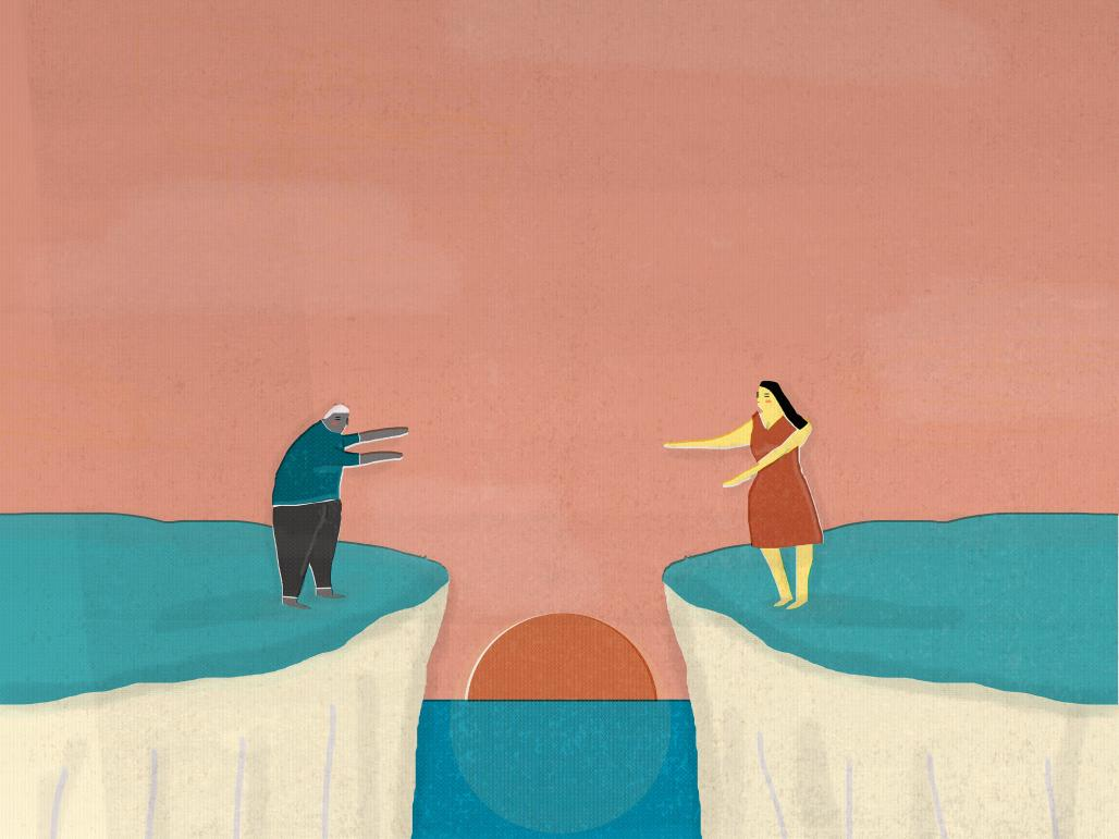 άντρας και γυναίκα που απλώνουν τα χέρια τους να φτάσουν ο ένας τον άλλον αλλά υπάρχει κενό μεταξύ τους