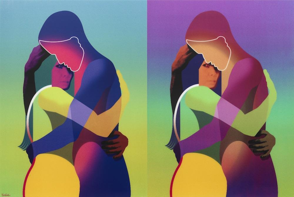 δυο απεικονίσεις ζευγαριού που αγκαλιάζεται σε πολύχρωμο φόντο