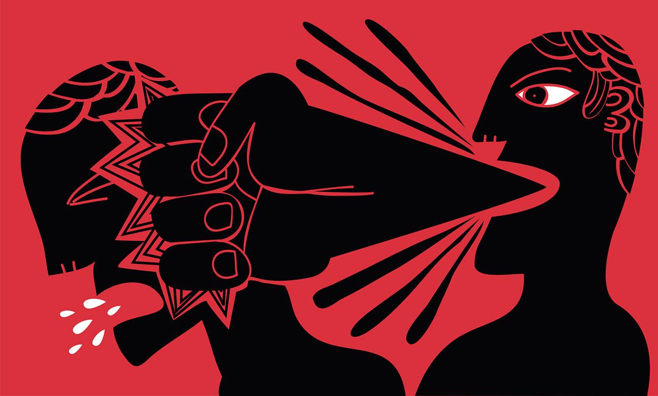 σκίτσο με ένα άτομο να ασκεί λεκτική βία σε κάποιο άλλο